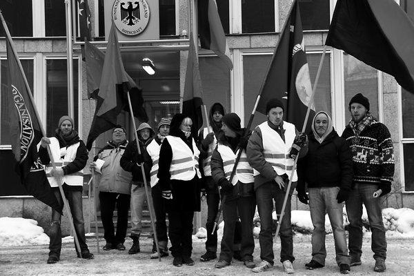 Stockholm, 4. Januar: Kundgebung vor der deutschen Botschaft