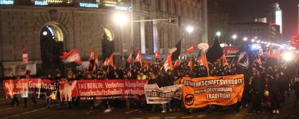 """""""Gewerkschaftsfreiheit verteidigen!"""" Demonstration am 20. Februar 2010 in Berlin"""