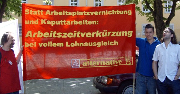 Transparent der Alternative für die Kolleginnen und Kollegen im Daimler Werk Untertürkheim, einer der alternativen IG-Metall-Gruppen bei Daimler, zum 1. Mai 2007 (Quelle: http://www.alternative-info.org)