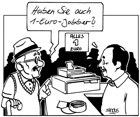 Im 1-Euro-Shop (Cartoon: Findus)