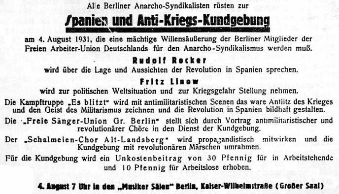 """Ankündigung einer antimilitaristischen Kundgebung der FAUD aus dem Jahre 1931. Eine Aufführung der """"Kampftruppe – Es blitzt"""" wurde polizeilich verboten"""