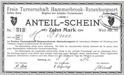 Die traditionellen Arbeitersport- und Turnvereine setzten auf eine solidarische Finanzierung aus Festen, Tombolas, Spenden oder, wie hier vom Vorgängerverein des SC Lorbeer 06 Hamburg, Anteilscheine