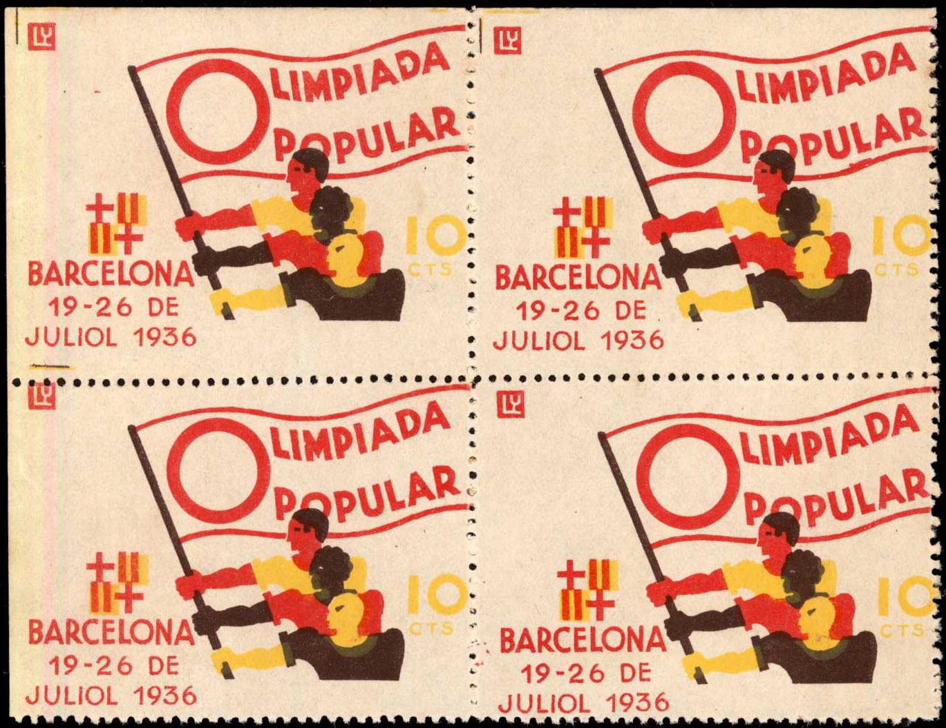 Zehn-Centavos-Briefmarke herausgegeben zur Olimpiada Popular