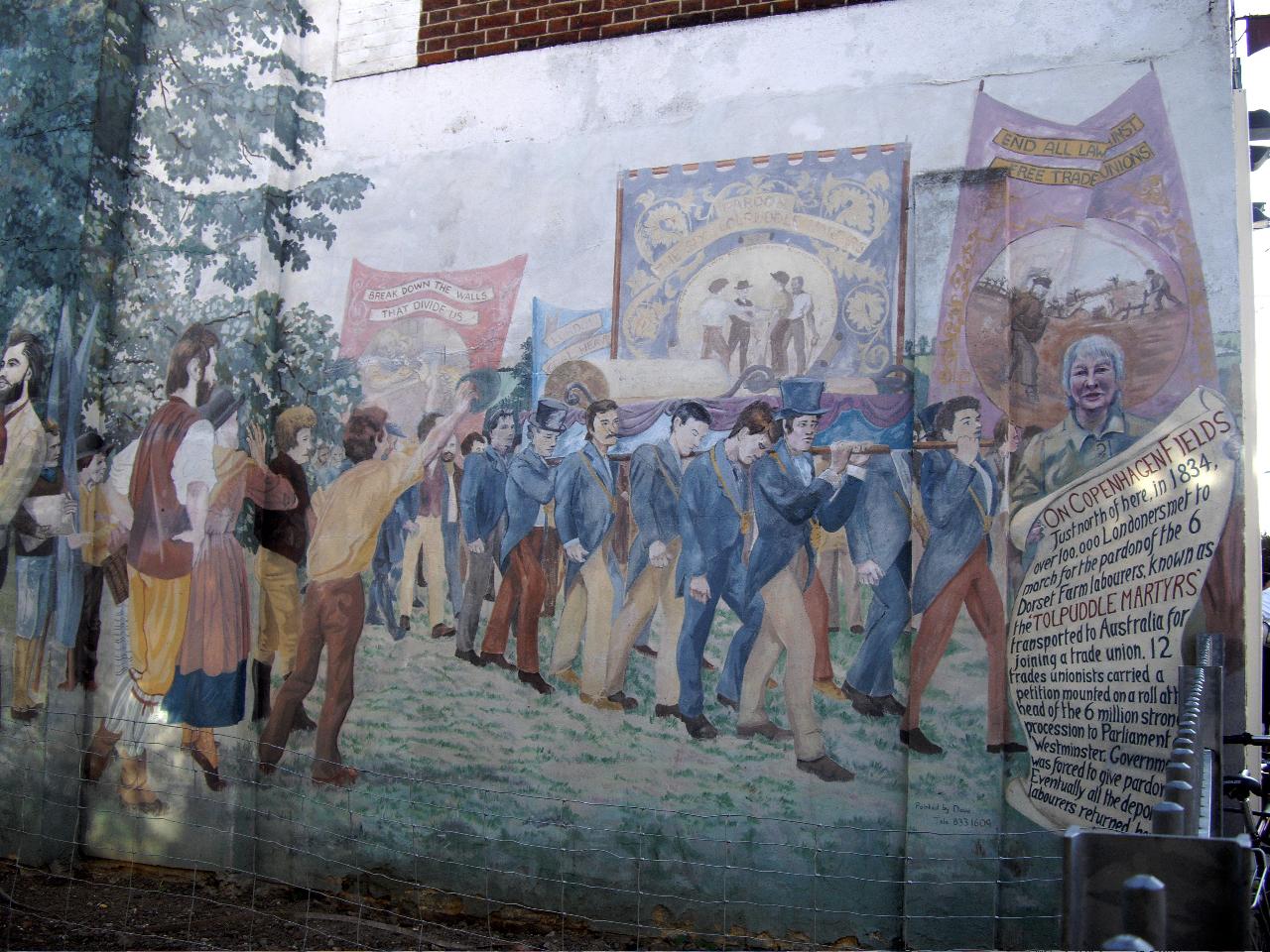 """Ein Wandbild in London. Zu sehen ist die große Solidaritätsdemonstration für die """"Tolpuddle-Märtyrer"""" 1834 (Quelle: http://tolpuddlekx.wordpress.com)"""