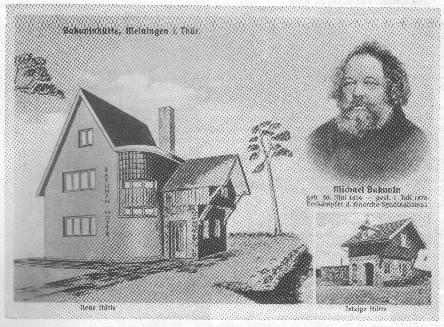 Historische Spendenpostkarte der FAUD zur Unterstützung des Erhalts der Bakuninhütte