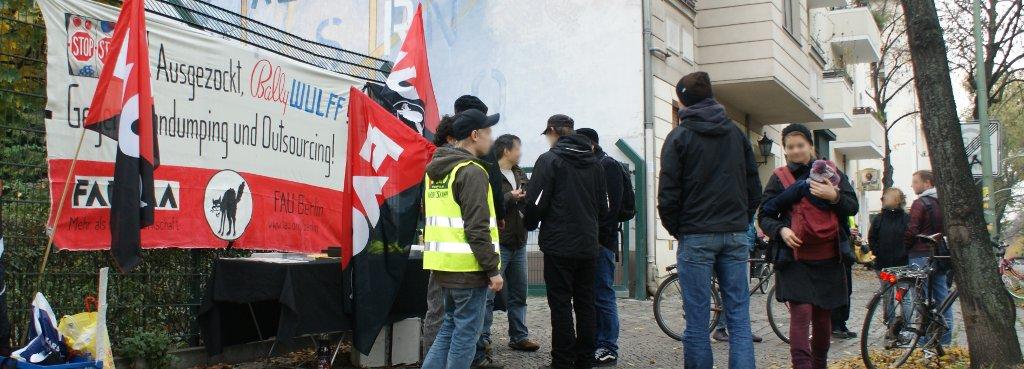Kundgebung am Werksgelände von Bally Wulff in Berlin am 4. November