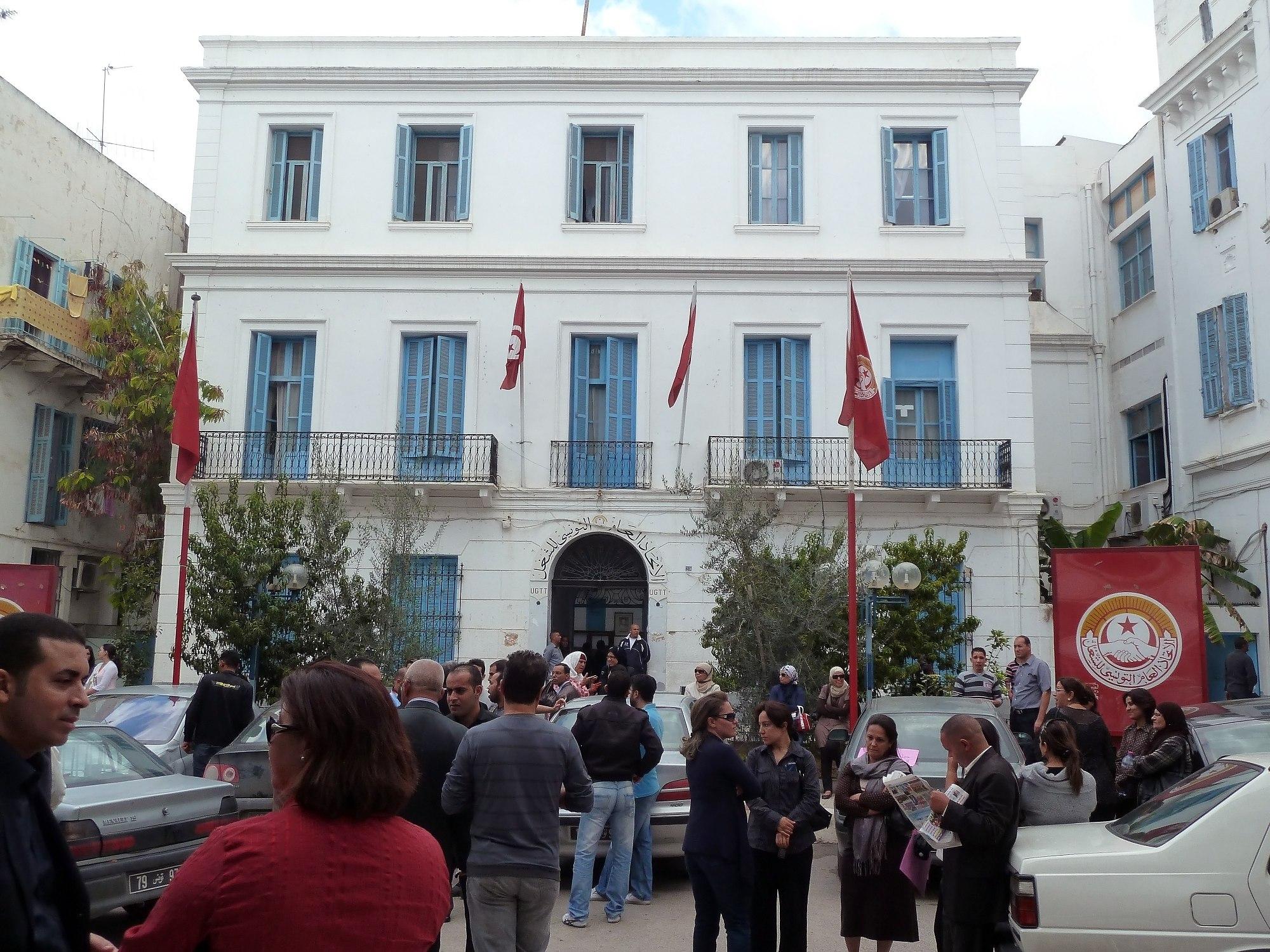 Platzbesetzung in der UGTT in Tunis (Quelle: Wikipedia)