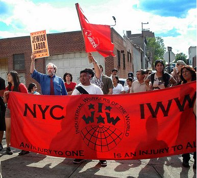 Protest der General Membership Branch der IWW in New York City