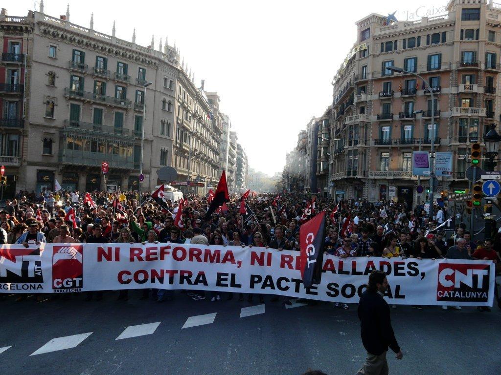 CNT und CGT beim Generalstreik in Barcelona am 29. März (Quelle: www.cgtbarcelona.org)