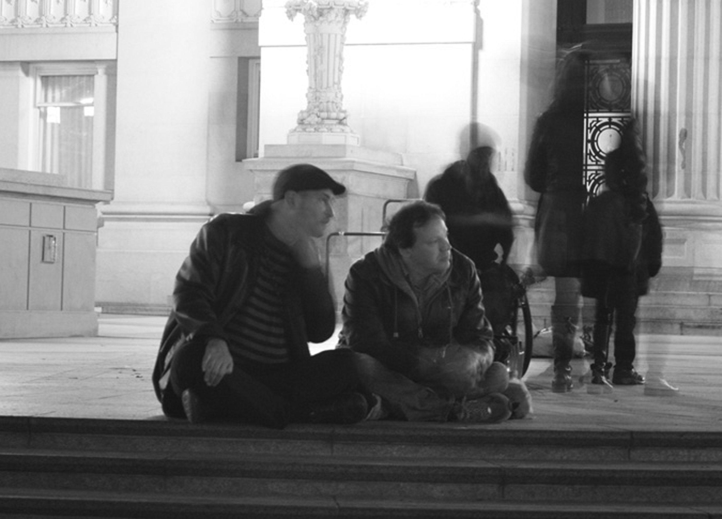David Graeber und Andrej Grubacic während des OccupyOakland's Rise Up Festival.