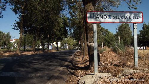 """Ortsschild """"Llanos del Caudillo"""""""