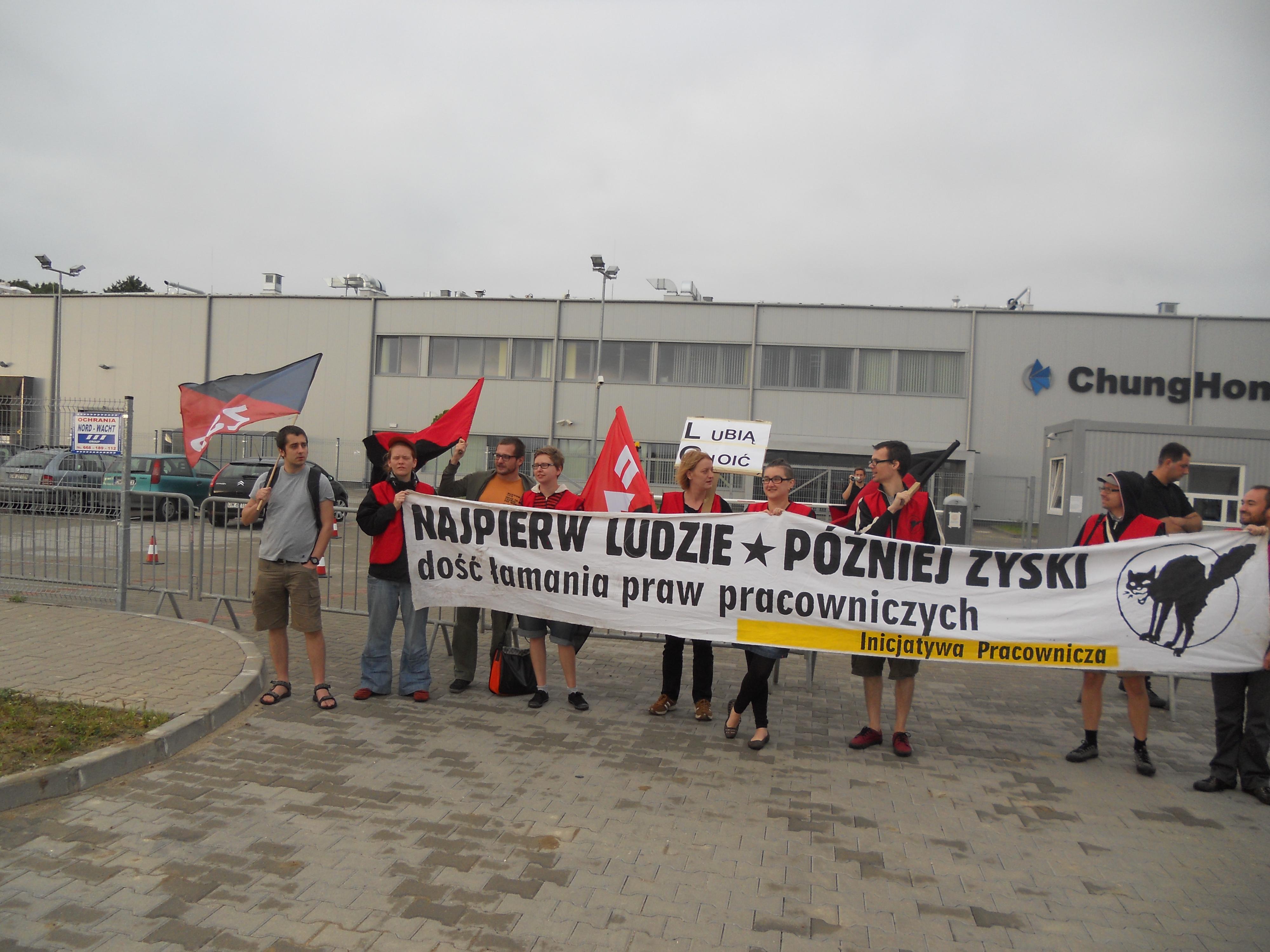 Streikposten vor dem Chung Hong Werk (Bildquelle: FAU Berlin)