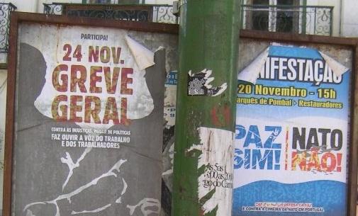Gehört immer noch zusammen: Aufruf zum Generalstreik und antimilitaristischer Protest (hier: Lissabon im Frühjahr 2011).