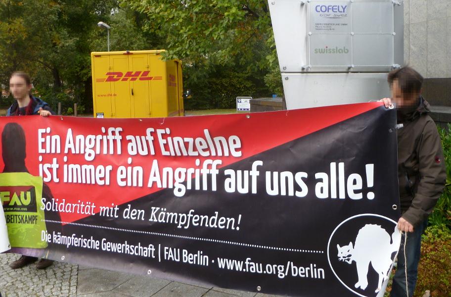 Protest der Berliner FAU bei swisslab