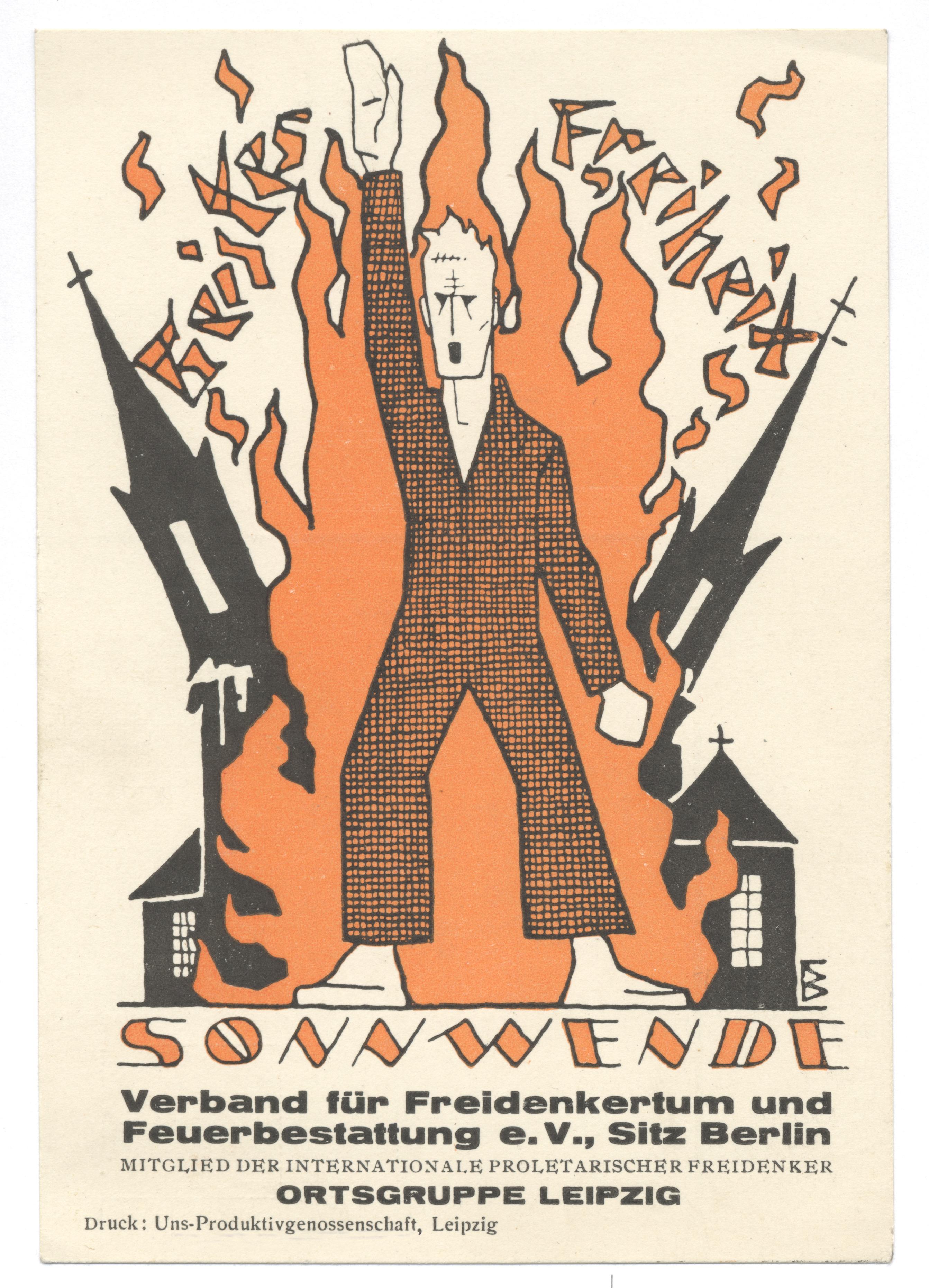 Postkarte der Freidenker Leipzig zur Sommersonnenwende 1928 (Städtisches Museum Leipzig)