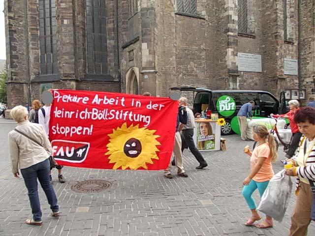 Exemplarisch für viele Aktionen zum Konflikt mit der Heinrich-Böll-Stiftung – hier in Halle am 27. August