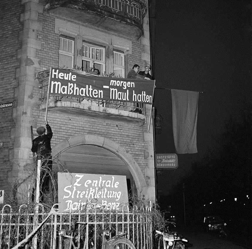Die zentrale Streikleitung für den Streik bei Daimler-Benz. [Quelle: Stadtarchiv Mannheim]