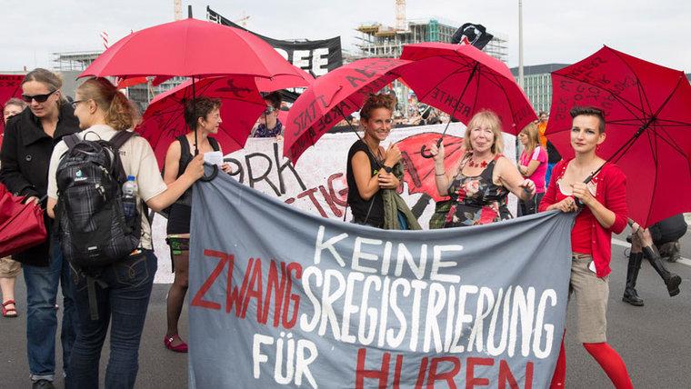 """Demonstration gegen Zwangsregistrierung und """"Hurenpaß"""" im August in Berlin"""