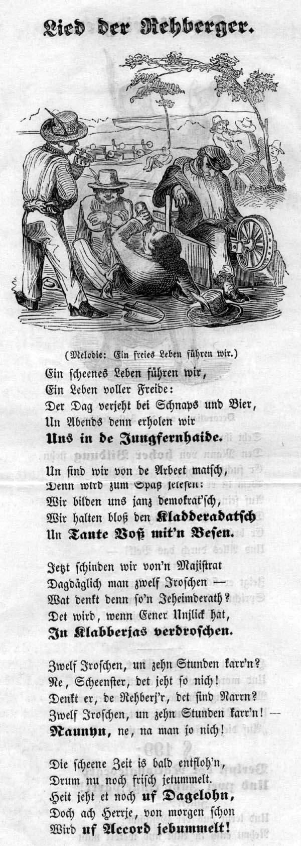 """Das """"Lied der Rehberger"""" beschreibt satirisch und dennoch entlang der Tatsachen die damaligen Lebensumstände."""