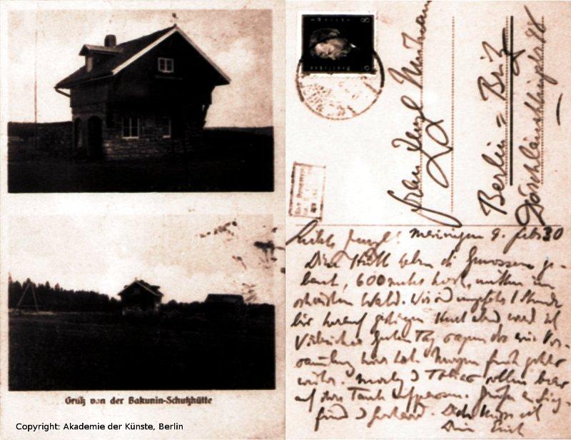 """Mühsam an seine Frau Zenzl: """"Diese Hütte haben die Genossen gebaut, 600 Meter hoch, mitten im schönsten Wald..."""""""
