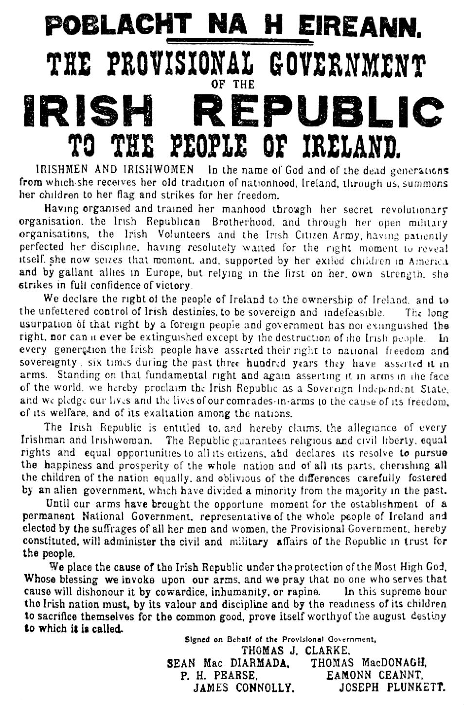Unabhängigkeitserklärung, Ostern 1916