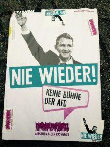 Plakat: Nie wieder. Keine Bühne der AfD!
