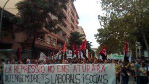 Demo-Transparent der CNT in Katalonien: La repressió no ens aturarà – defensem drets laborals i socials