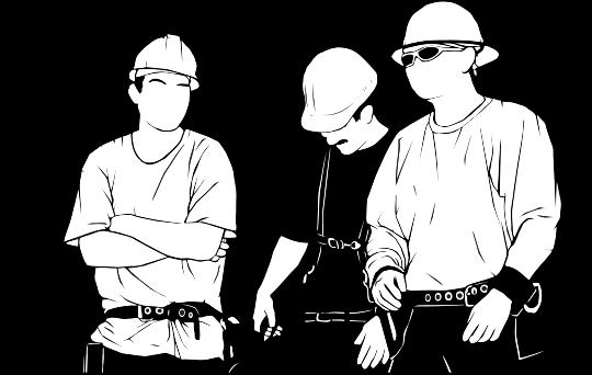 Eine Gruppe von stilisierten Bauarbeitern